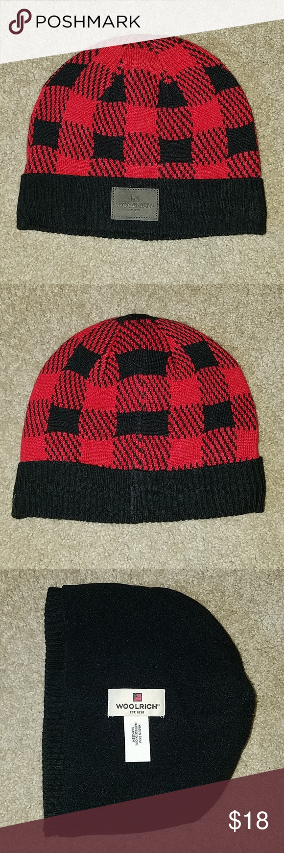 134c64c7acb NEW Woolrich buffalo knit Cuff checkered Beanie Woolrich beanie hat Style    Q16006 Fleece lined Measures approx. 9.5