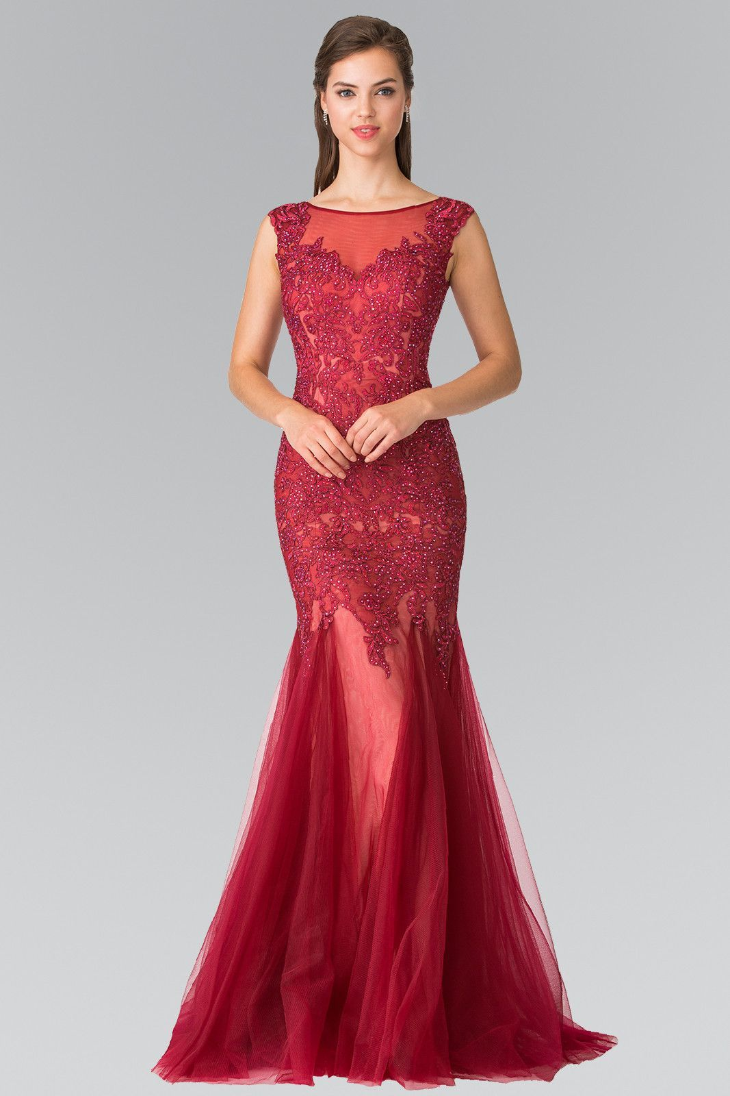 Sleeveless Embroidered Mermaid Dress with V-Back by Elizabeth K GL2319