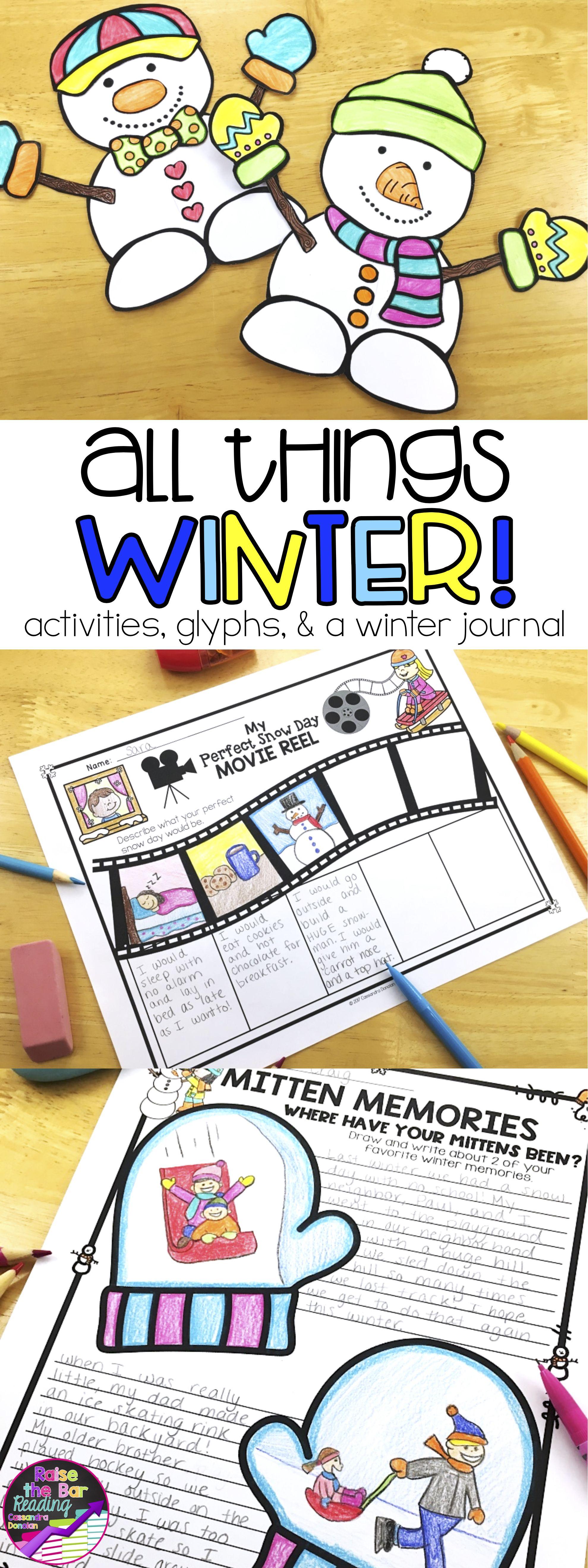 Winter Activities Winter Glyphs Winter Writing Prompts