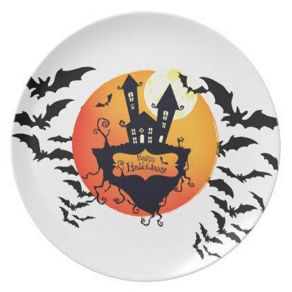 Halloween Plastic Plate - halloween decor diy cyo personalize unique party  sc 1 st  Pinterest & Halloween Plastic Plate - halloween decor diy cyo personalize unique ...