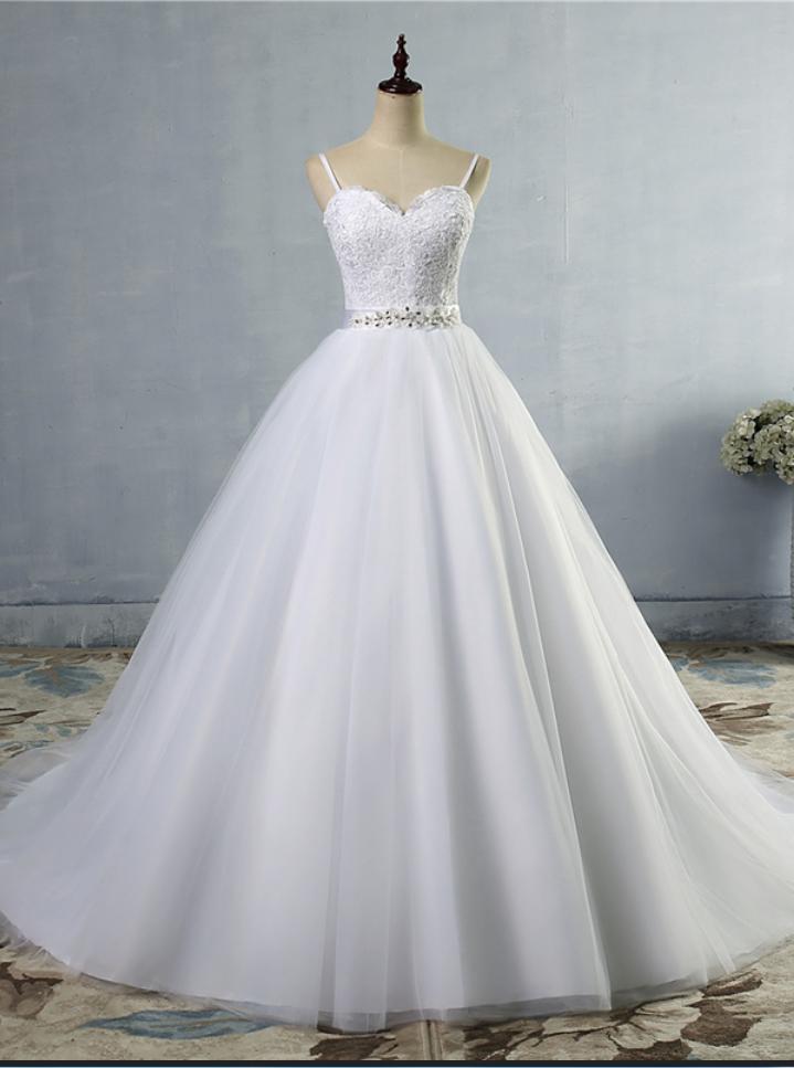 Robe de mariée longue, robe de mariée à bretelles spaghetti, robe de mariée en tulle, robe de mariée en dentelle – Wedding Dresses