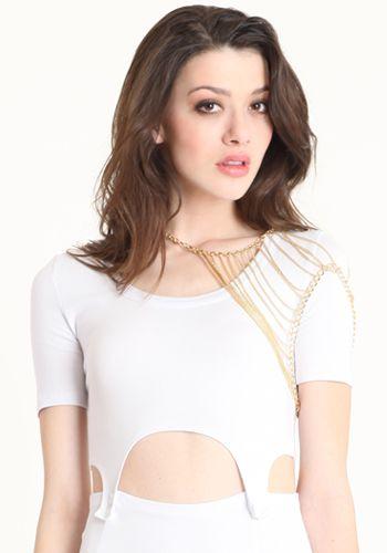 Golden Trendsetter Shoulder Necklace 24.00 at threadsence.com