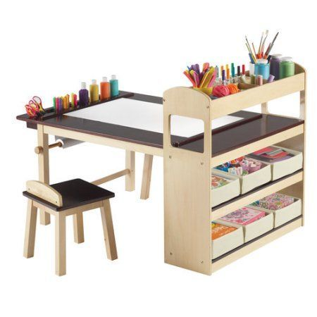 Guidecraft Deluxe Art Table and Chair Set, Brown