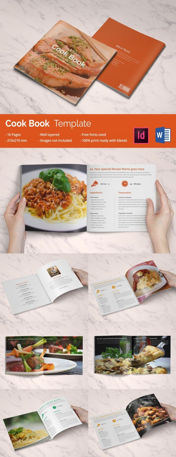 Cookbook Template Free PSD EPS InDesign Word PDF Format - Indesign cookbook template free