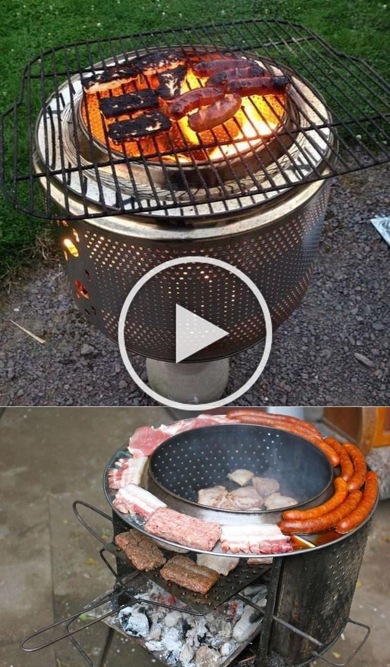 These BBQ grills are made from recycled washing machine