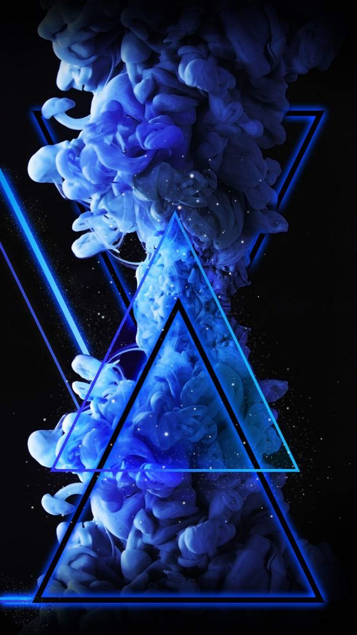 Blue Triangle Neon Smoke Bomb - IPhone Wallpapers