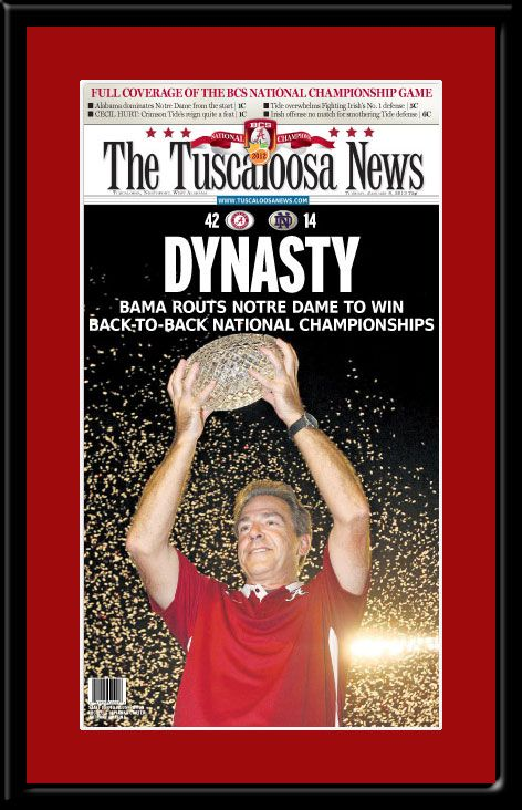 Alabama Dynasty Tuscaloosa News Front Page Framed Poster