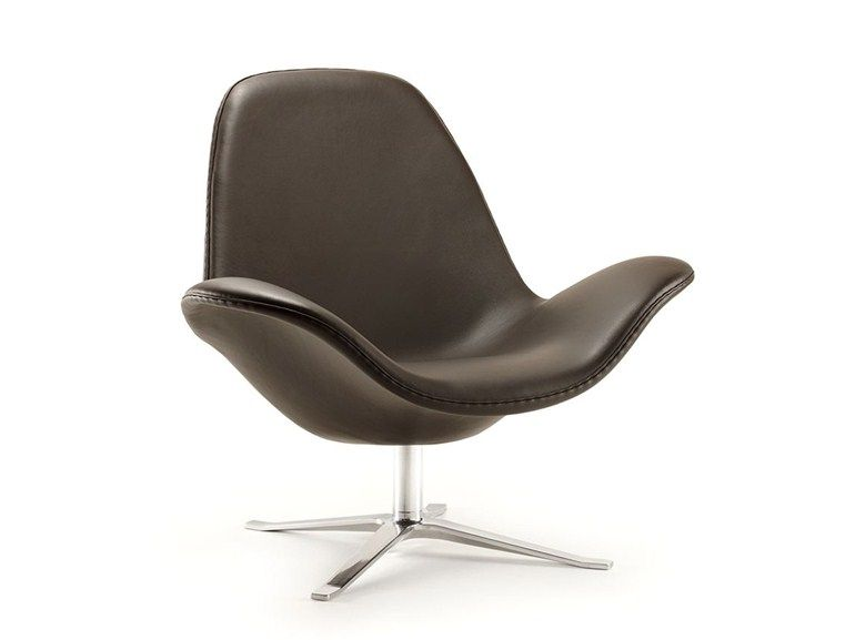 Leather Armchair With 4 Spoke Base With Armrests Concord