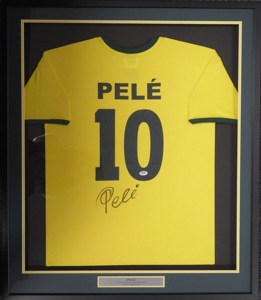 2b63660d05d ... Short Sleeve CBD Brazil Jersey, approximately 31x36 with the frame,  that has been hand signed by Pele. This item has been certified authentic  by PSA/DNA ...