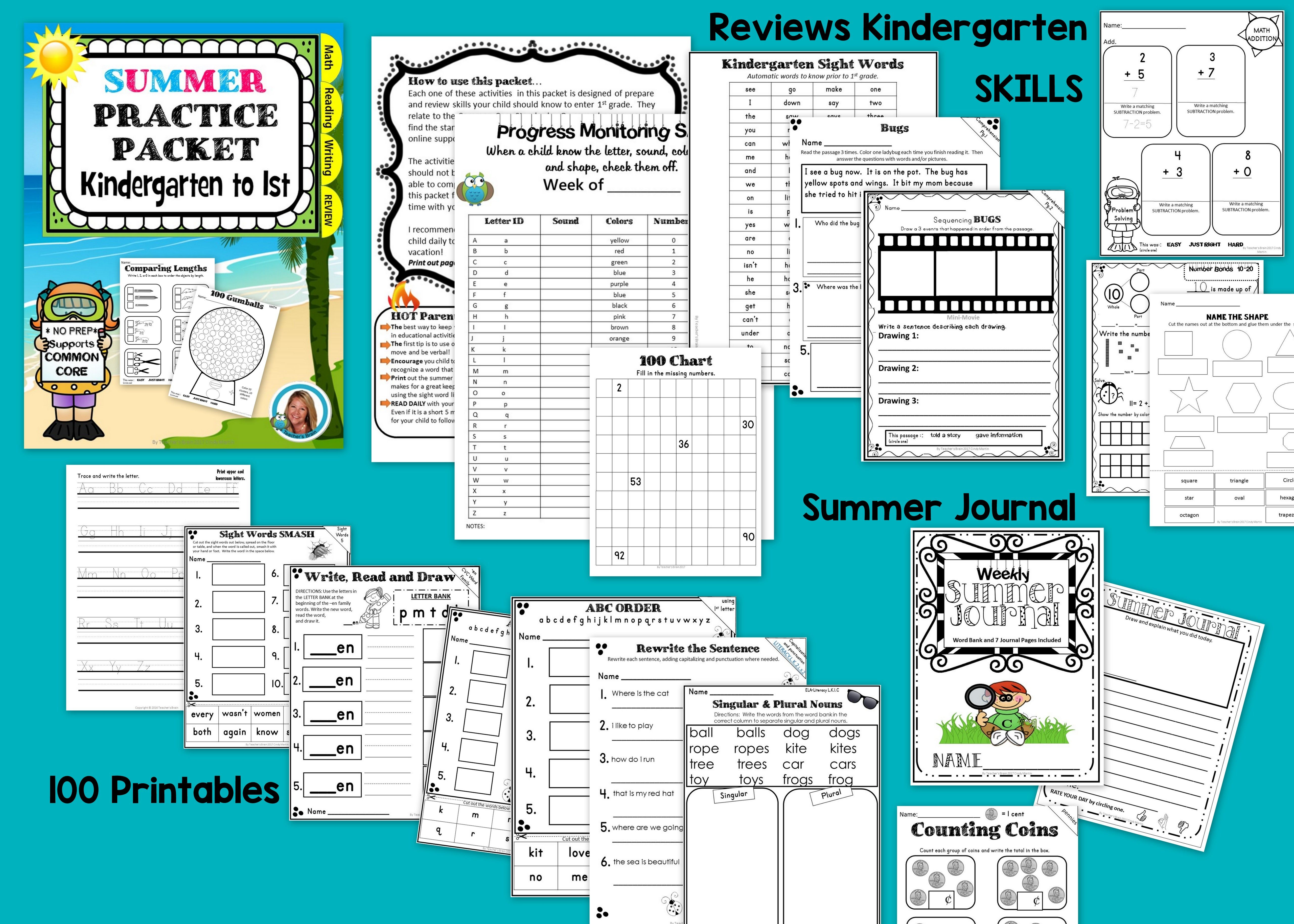End Of The Year Summer Packet For Kindergarten To 1st