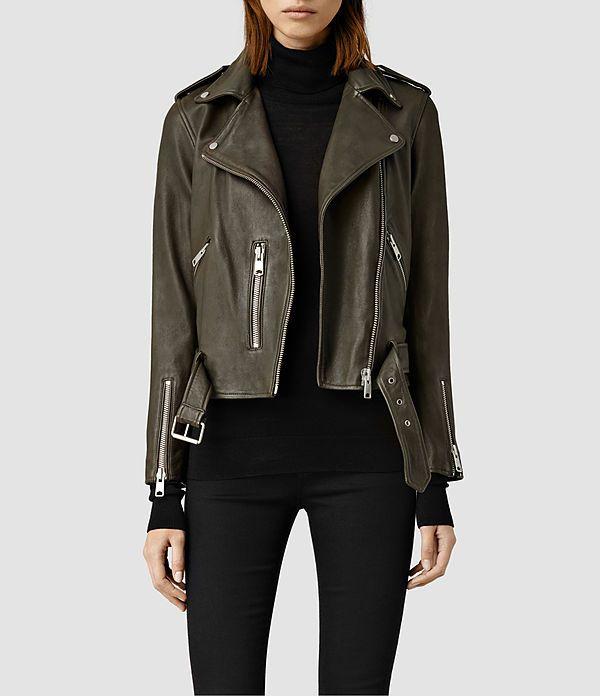 Womens Balfern Leather Biker Jacket (DARK ARMY GREEN ...