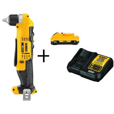 Dewalt 20 Volt Max Li Ion Cordless 3 8 In Right Angle Drill Tool Only With Bonus 20 Volt Max Li Ion Battery 3 0ah Charger Angle Drill Drill Cordless Tools