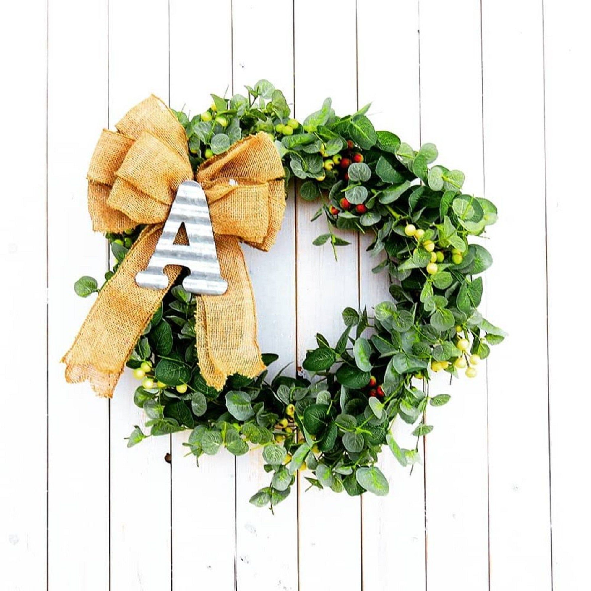 Wreaths Farmhouse Mini Wreath For Front Door Eucalyptus Wreath With Bow Holiday Wreath Small Artificial Country Wreath Etsy Wreath Gift With Images Etsy Wreaths Mini Wreaths Wreaths