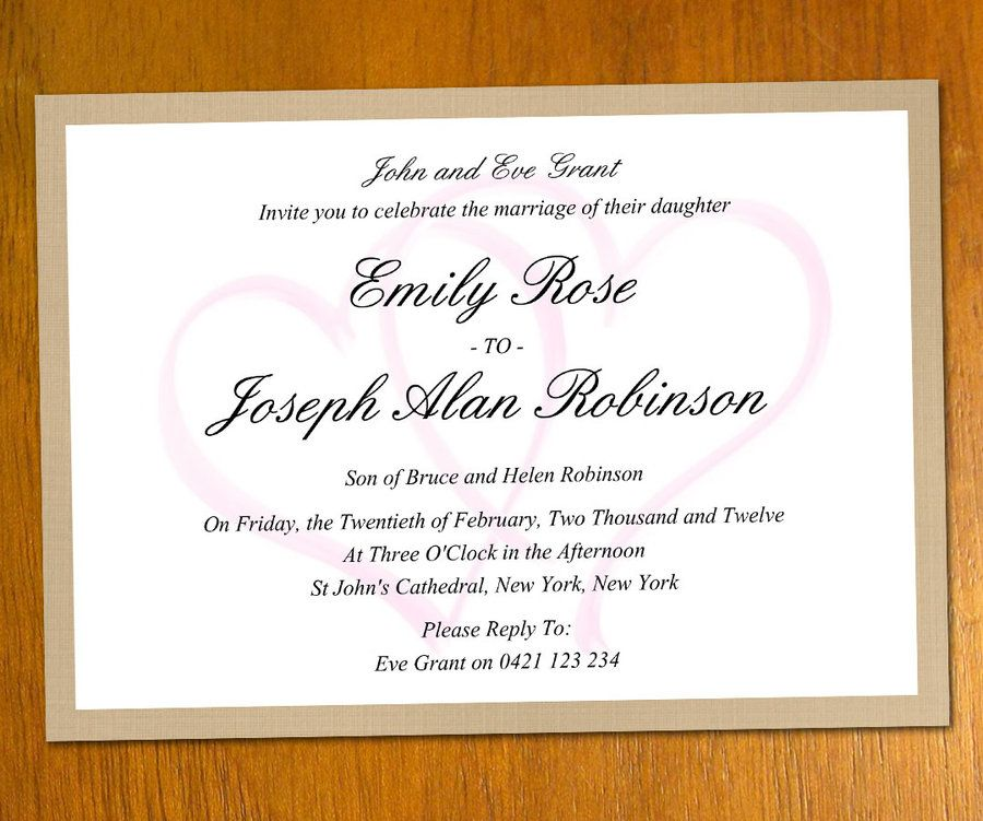 Modern Wedding Invite Wording: Sample Wedding Invitation Template QU5Uuu7E