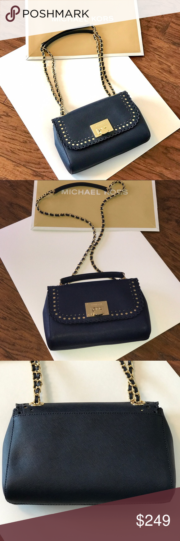 MICHAEL KORS Violet Vivian Shoulder Flap Navy Guaranteed Authentic! Michael  Kors Violet Vivian shoulder flap 4bb5afa45c109