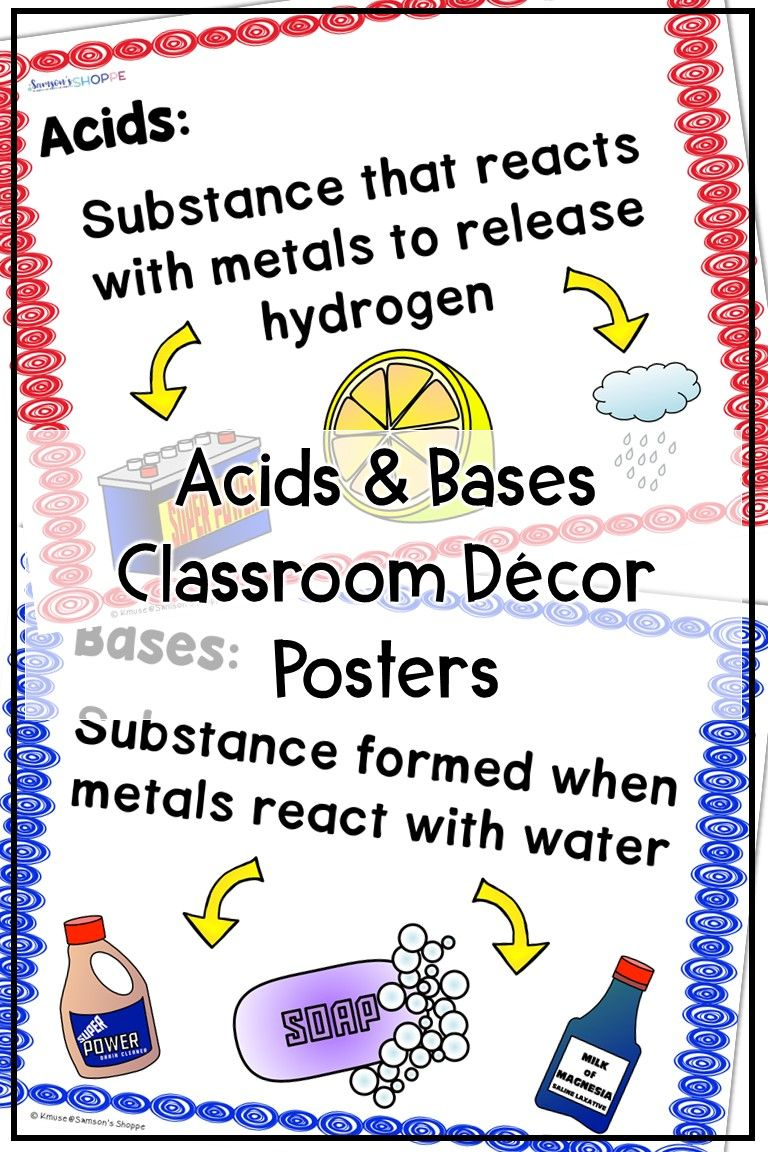 Acids And Bases Anchor Chart Classroom Decor Posters Science