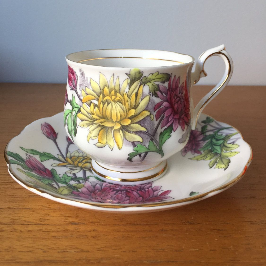 "Royal Albert ""Chrysanthemum"" Tea Cup and Saucer, Flower of"