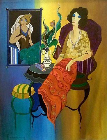 artnet Galleries: Blue and Yellow Wall by Itzchak Tarkay from Gallart.com