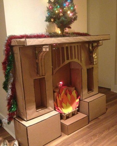 fausse chemin e pour no l christmas cardboard. Black Bedroom Furniture Sets. Home Design Ideas