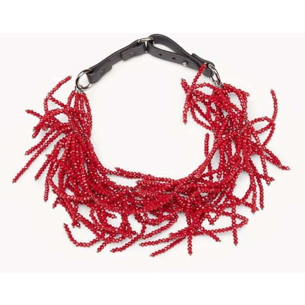 Brunello Cucinelli Necklace ($1,865) ❤ liked on Polyvore featuring jewelry, necklaces, red, red choker, choker necklace, choker jewelry, red jewelry and brunello cucinelli