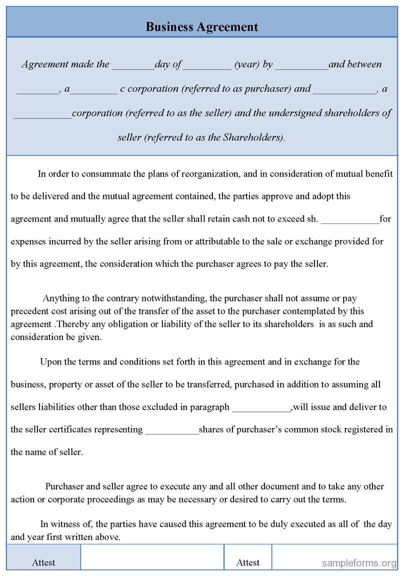The Downloadable Agreements Below Allow For Deals To Be Made
