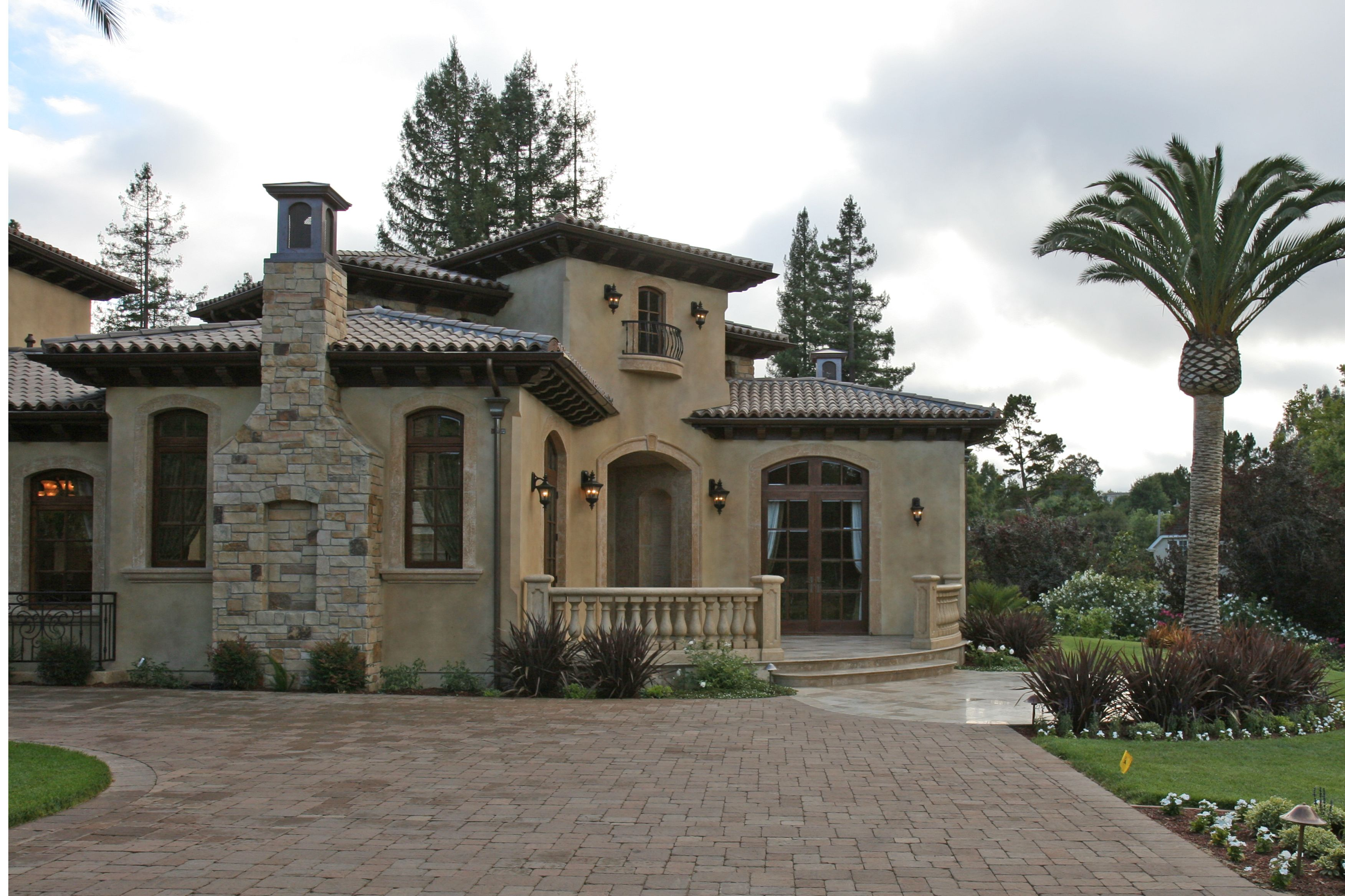 Mediterranean Tuscan Style HouseHome Entry to front