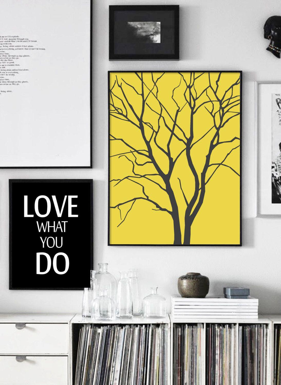 Scandinavian Yellow Gray Print, Printable Yellow Poster, Tree Print ...
