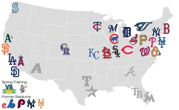 Pin By Stefanie Tran On Globe Trotting Pinterest: Map Of Usa With Mlb Cities At Usa Maps