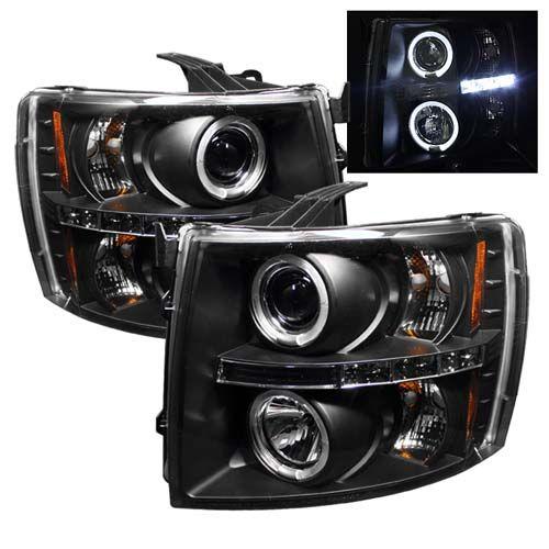 Chevrolet Silverado 2007 2008 2009 2010 2011 2012 Black Projector Headlights With Dual Lighted Halos Chevy Silverado 2011 Chevy Silverado Chevy Silverado 1500
