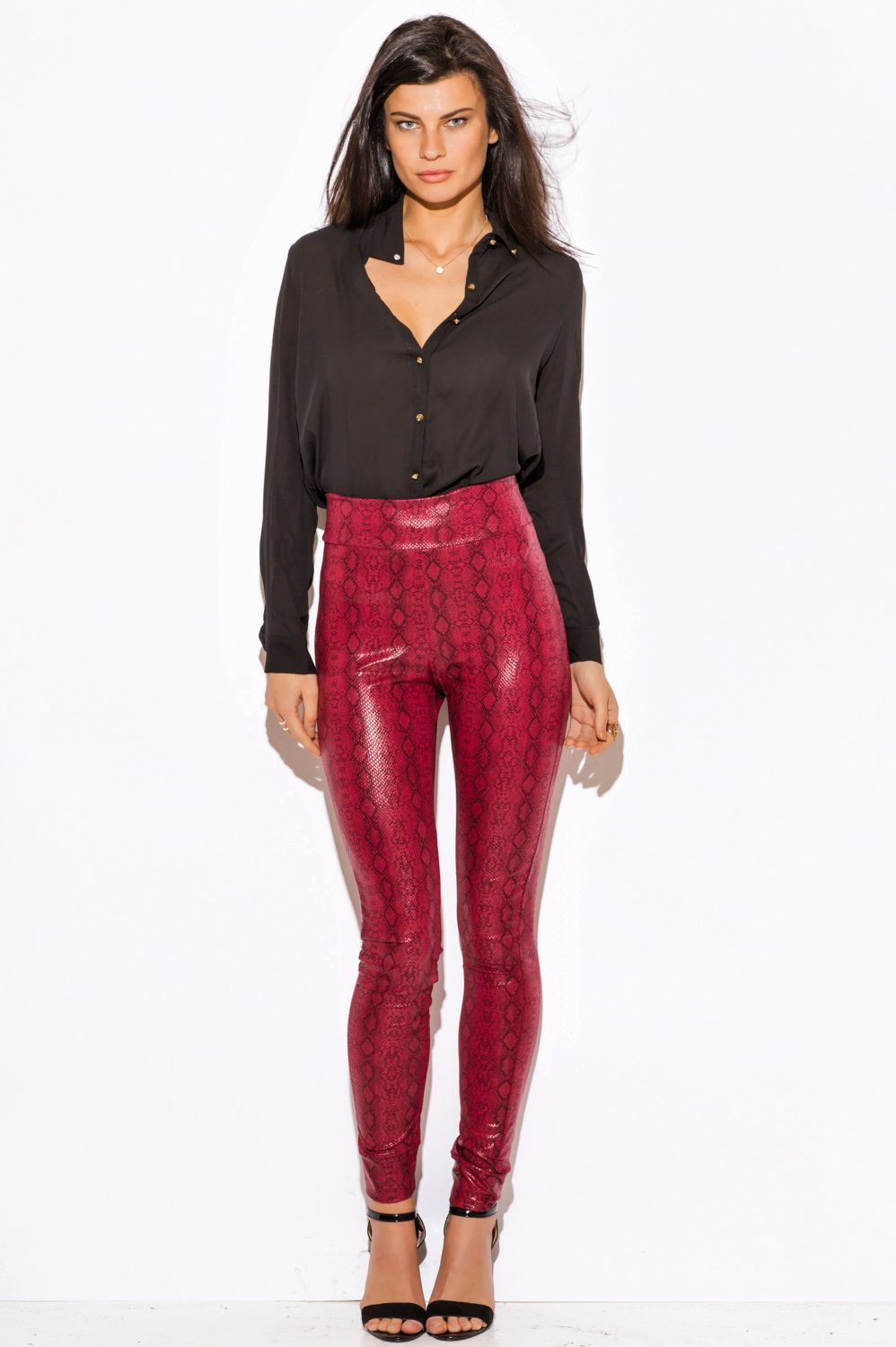 f86c760f608e1 Shop burgundy red python snake animal print faux leather high waisted leggings  skinny pants