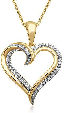 Jcpenney Fine Jewelry 1 10 Ct T W Diamond 10k Yellow Gold Heart Pendant Necklace Jcpenney Fine Jewelry Heart Pendant Gold Heart Pendant Diamond