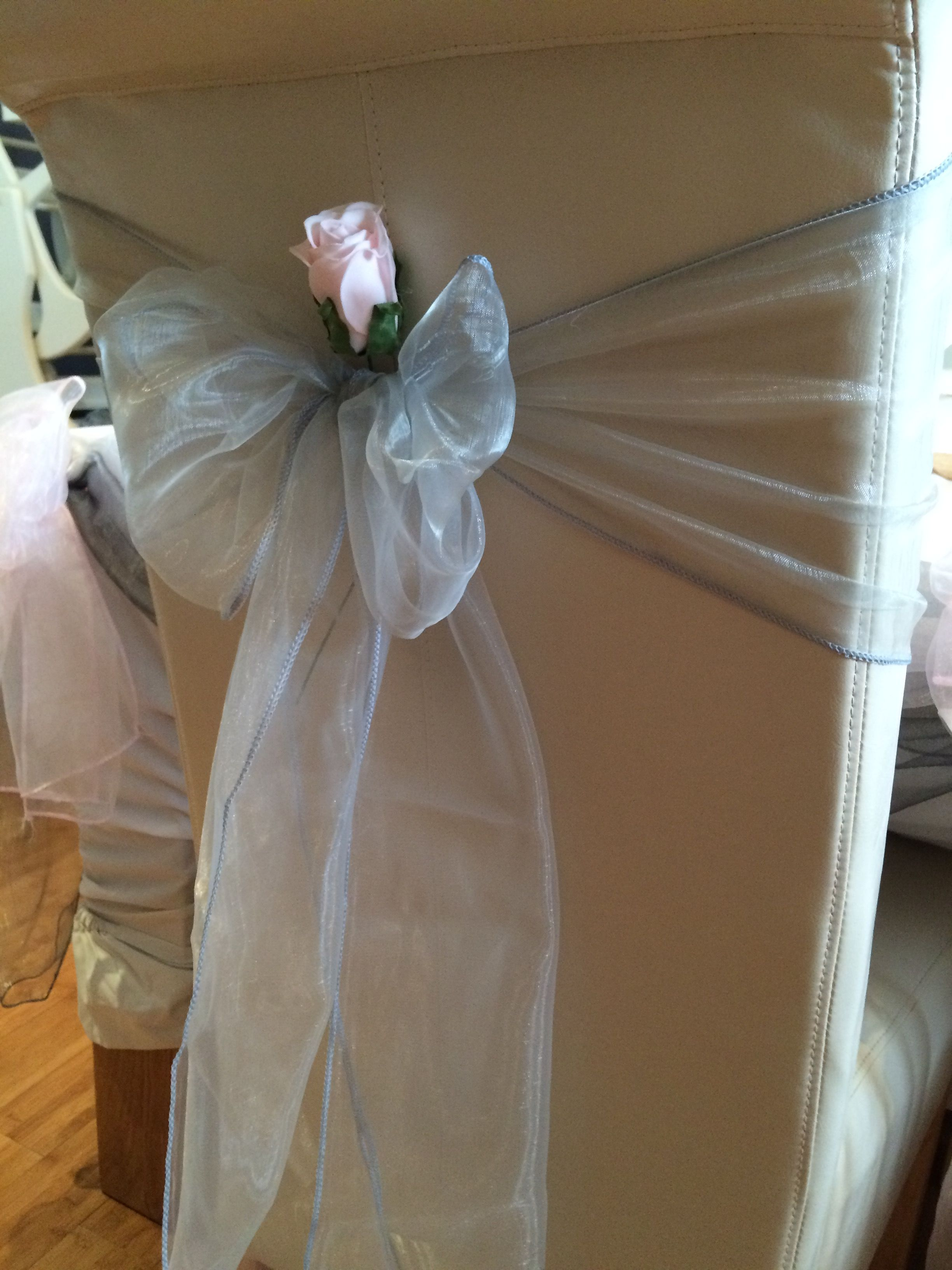 Wedding Chair Covers Swansea Office Canada Ivory With Light Grey Silver Organza Sash And Baby Pink Rose Available