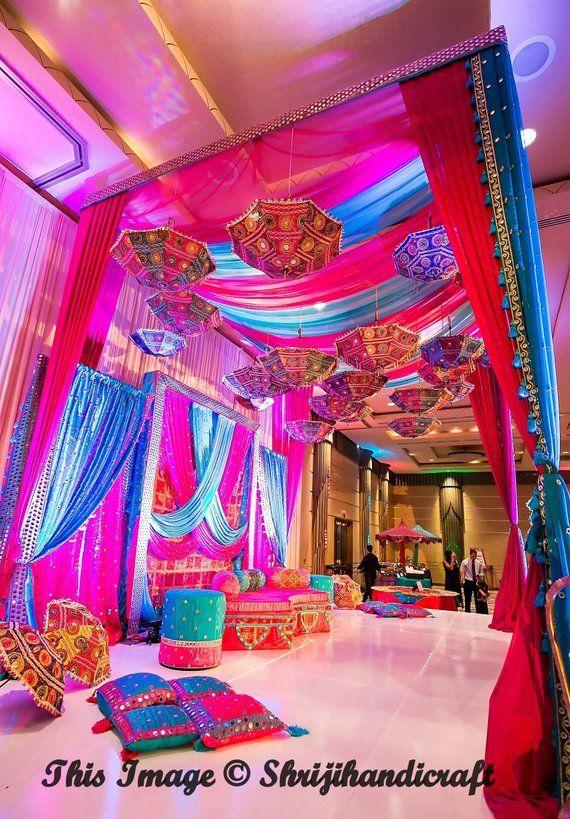 5 Pcs Indian Wedding Umbrella Floral Designer Outdoor Decorations