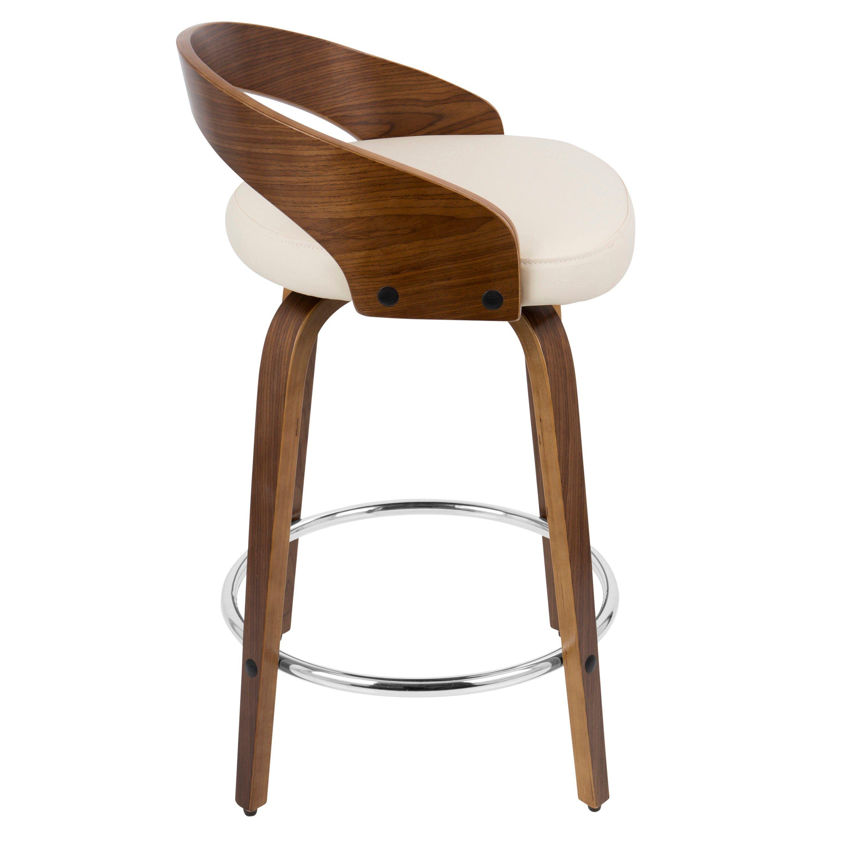 Mid Century Walnut And Cream 24 Inch Counter Height Stools Set Of Modern Counter Stools Counter Stools Stool