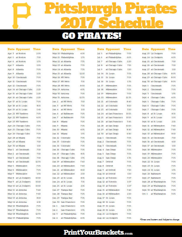 picture about Pirates Printable Schedule named 2017 Pittsburgh Pirates Timetable Printable MLB Schedules