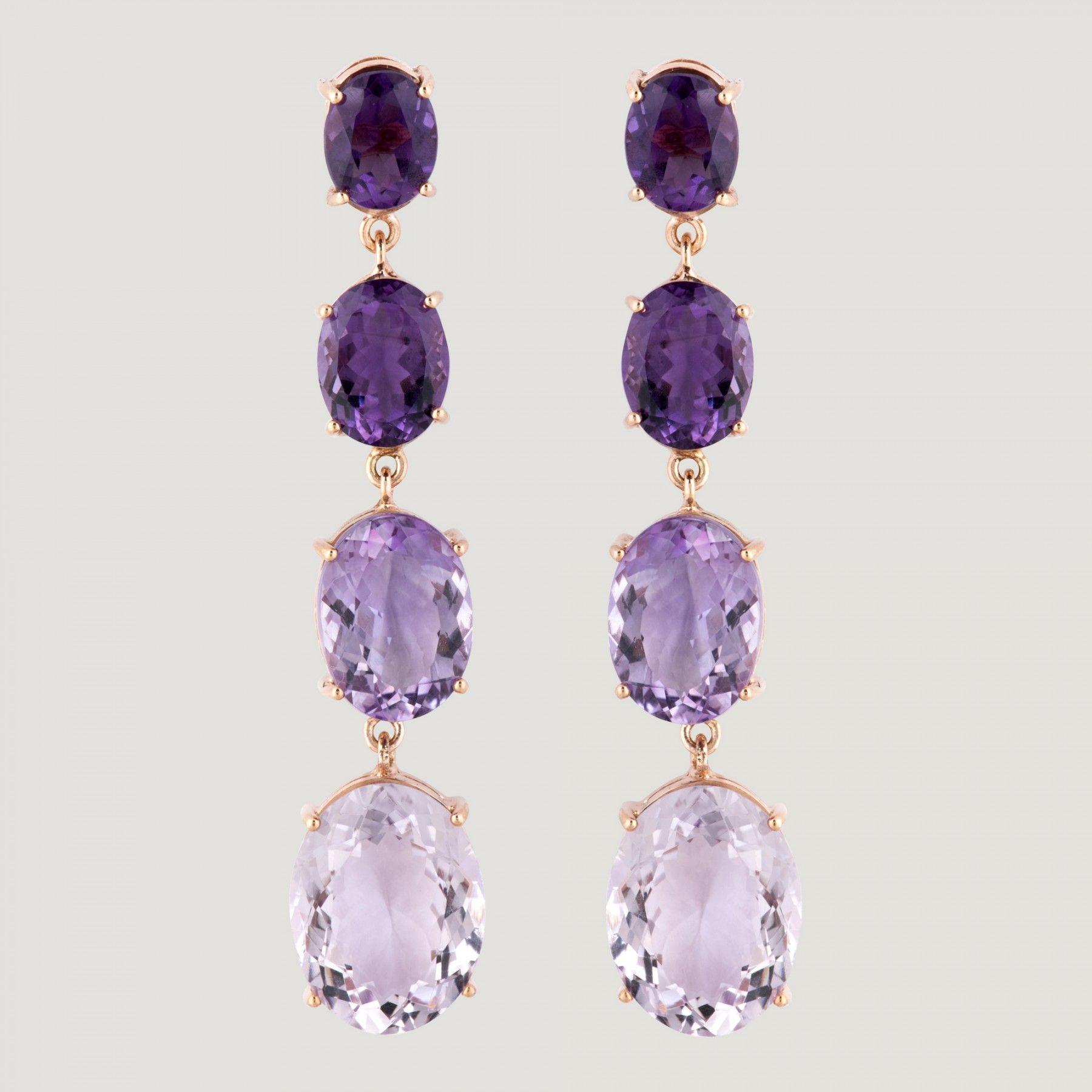 Square Bezel Amethyst Birthstone Drop Dangle Leverback Earrings 14K White Gold