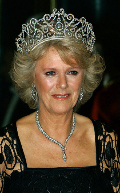 Camilla, Duchess of Cornwall, in Royal heirloom diamond tiara, necklace and earrings at a banquet in Buckingham Palace in 2005