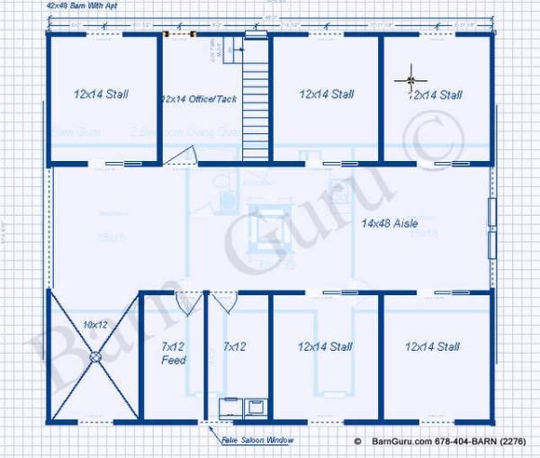 5 Stall Horse Barn With Apartment plan. Great design for the horses ...