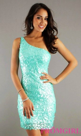 2015 Short Prom Dresses, Sequin One Shoulder Cocktail Dress - 2015 One Shoulder Prom Dresses