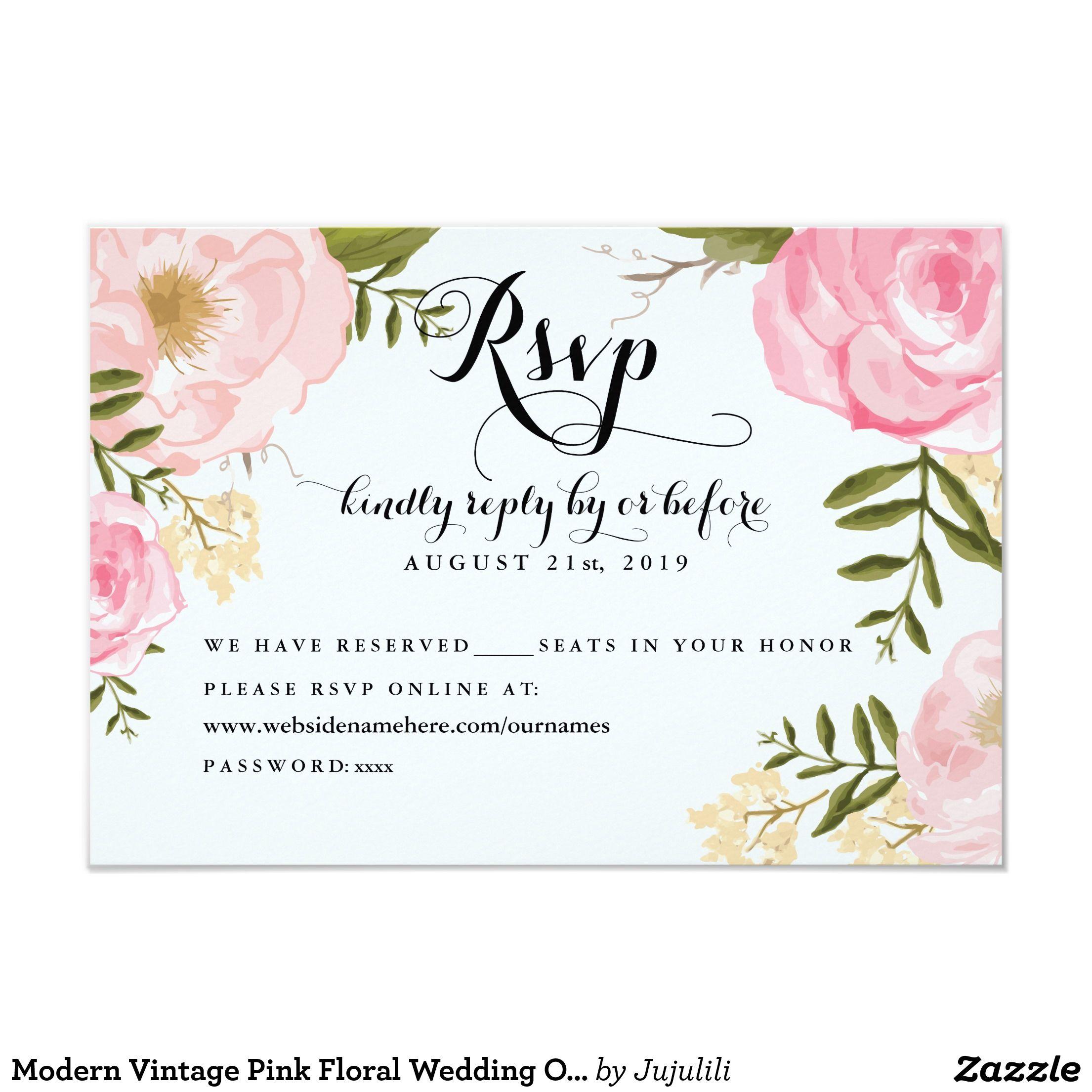 Modern Vintage Pink Floral Wedding Online RSVP 35x5 Paper – Invitation Card Paper
