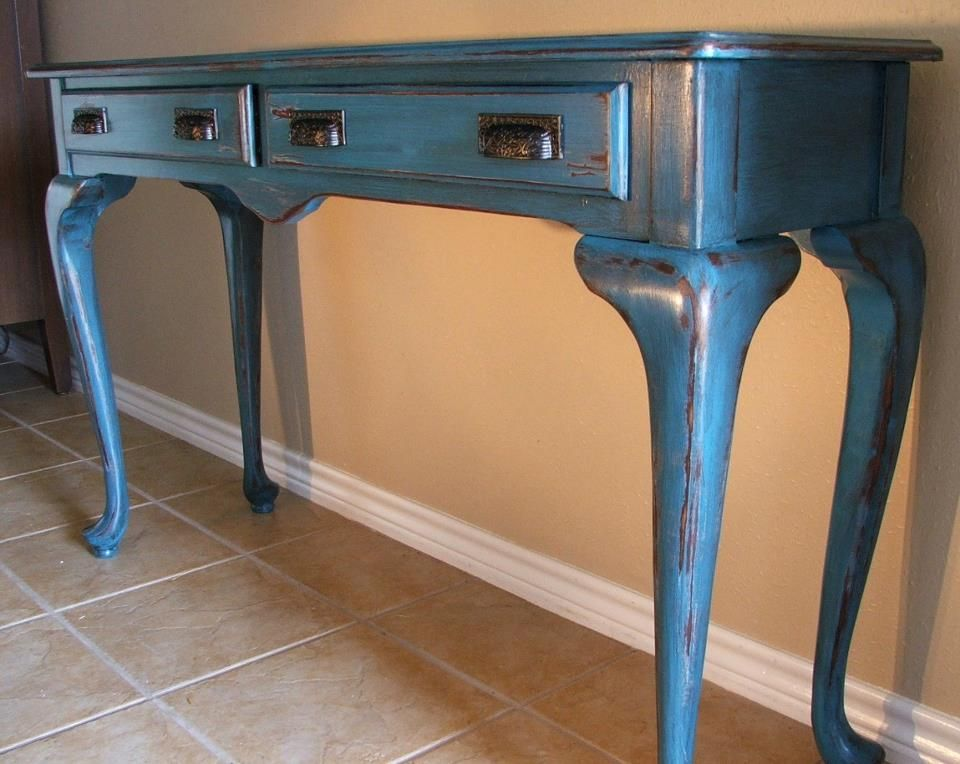 Sofa Table Painted Peacock Blue Heavily Distressed With With