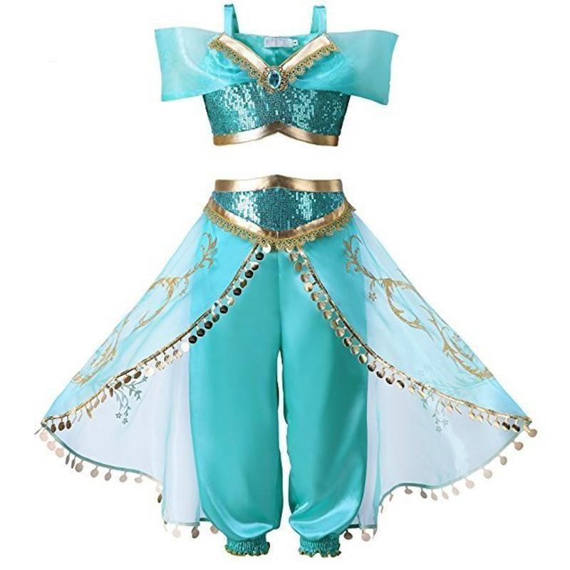 Princess Jasmine Cosplay Costume Outfit Kids Girls Aladdin Halloween Fancy Dress