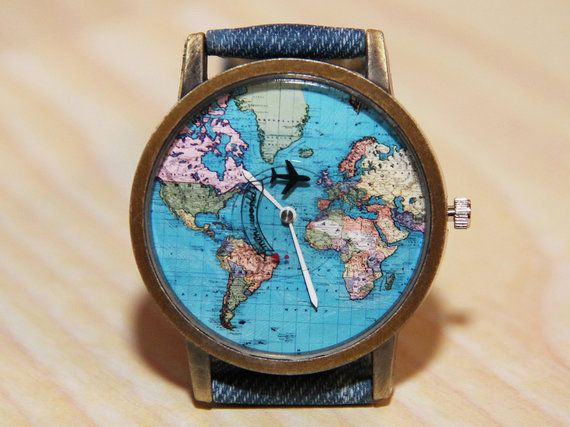wristwatches with aircraft watches world map watches earth globe travelers watch jeans