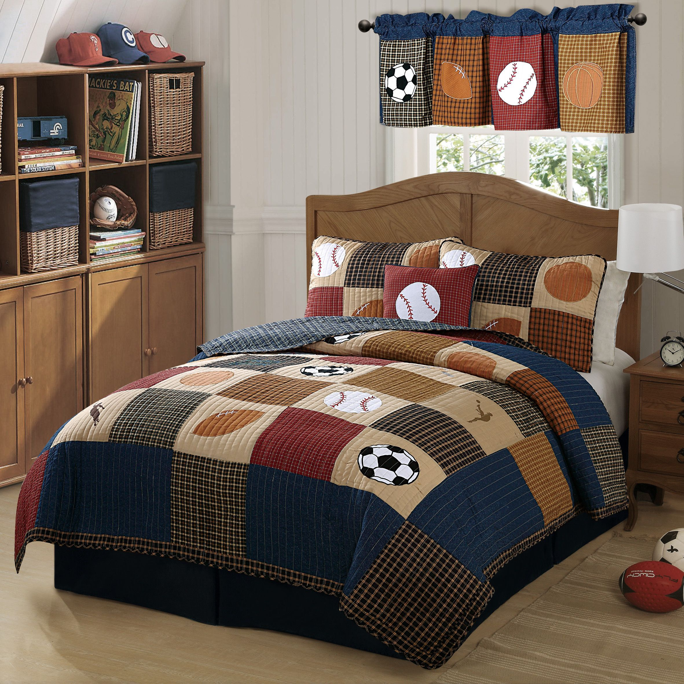 laura hart kids classic sports quilt mini set | colchas y mas