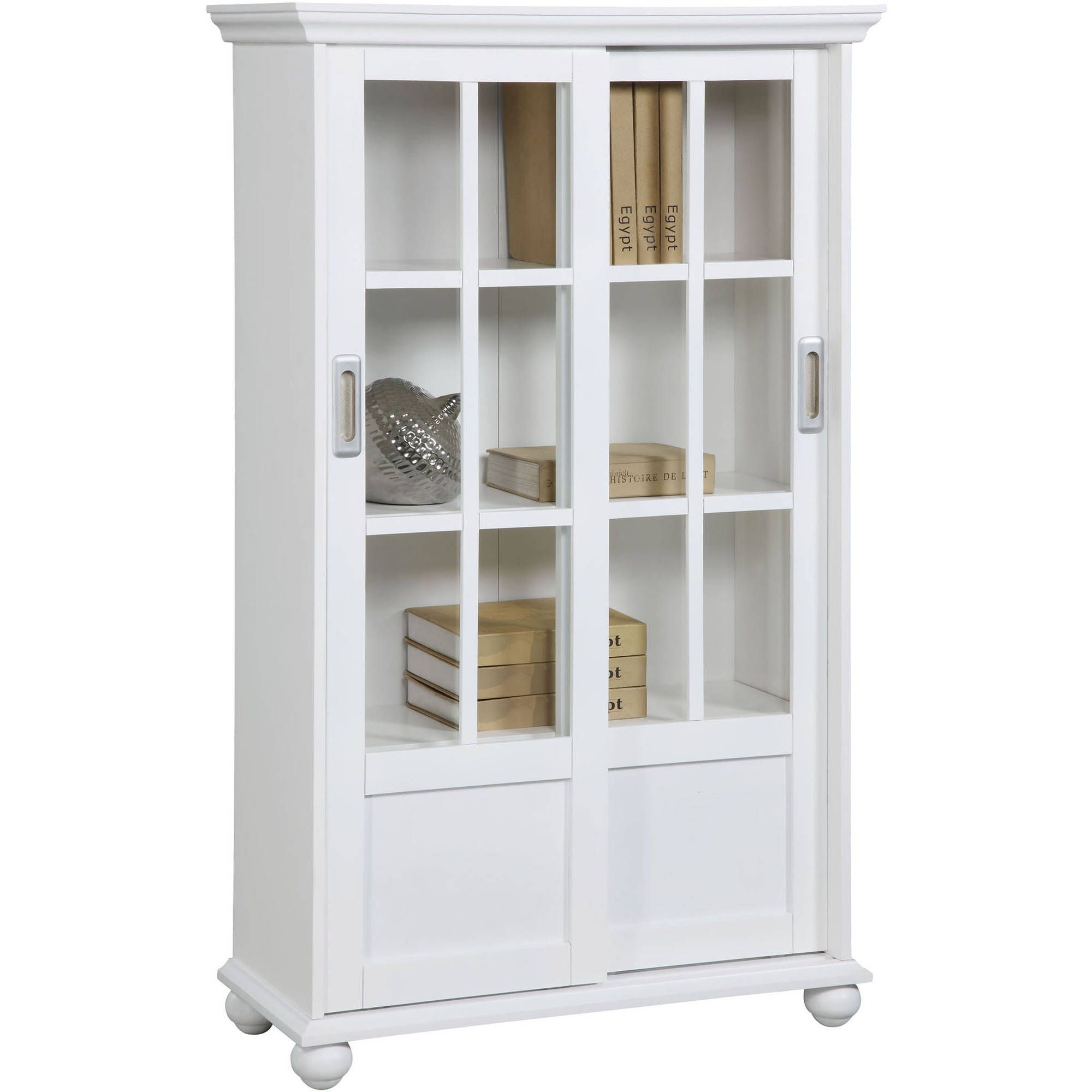 Arron Lane 4 Shelf Sliding Glass Door Bookcase Multiple Colors
