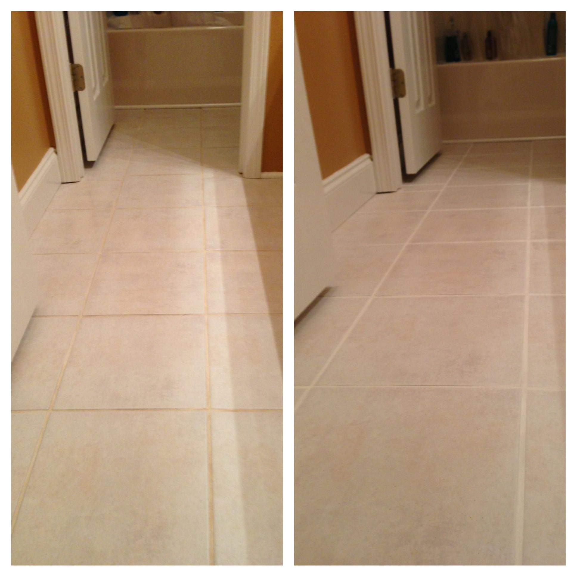 Before After Grout Renew In Snow White Totally Made A Huge Difference It S So Clean Looking Pretty Now I Ve Tried Ev New Homes Grout Renew Cleaning Hacks