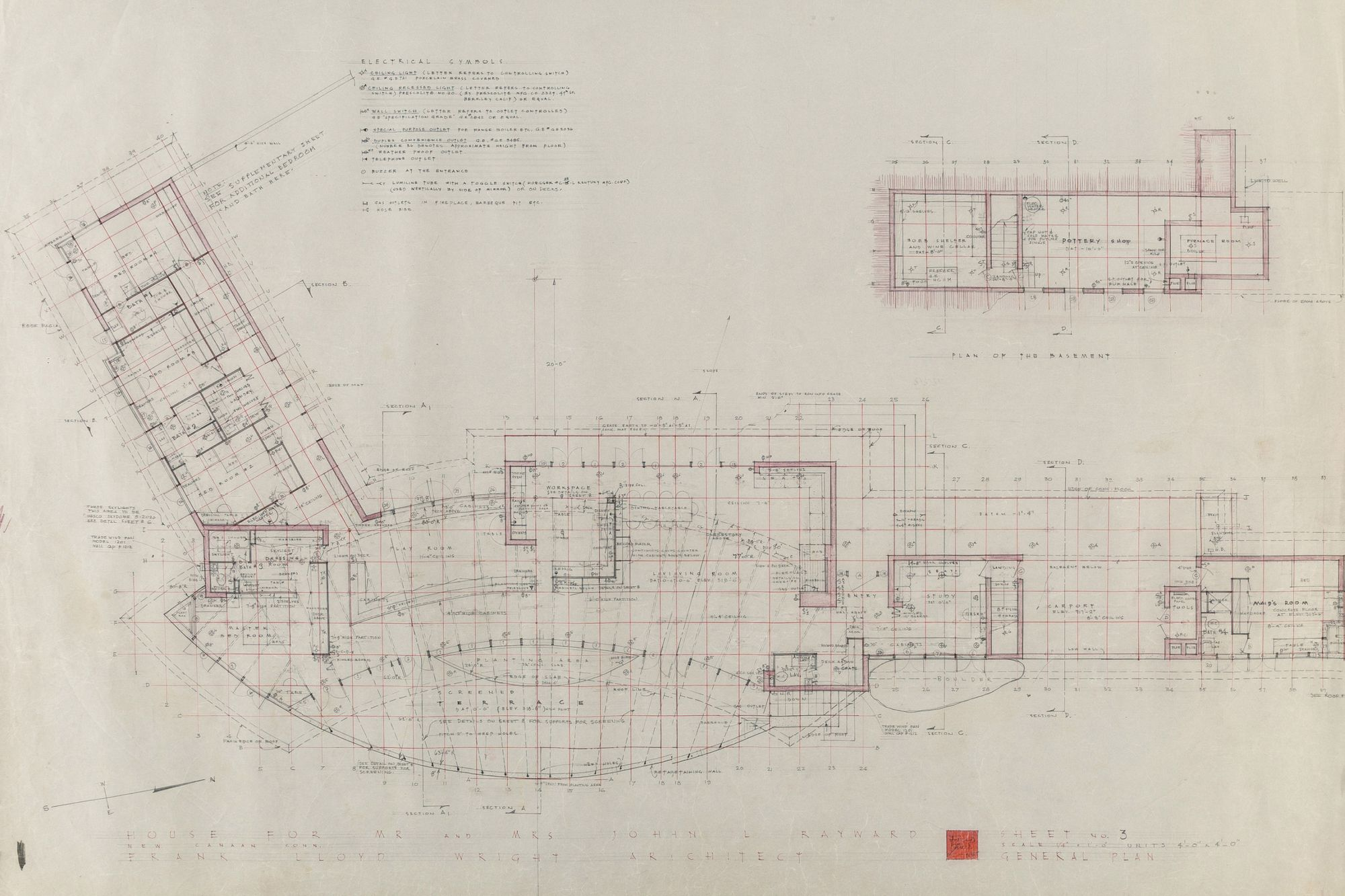 A U 2019 05 Architecture Floor Plan Of The Rayward Tirranna House By Frank Lloyd Wright Architecture Mid Century Architecture Architecture Sketch