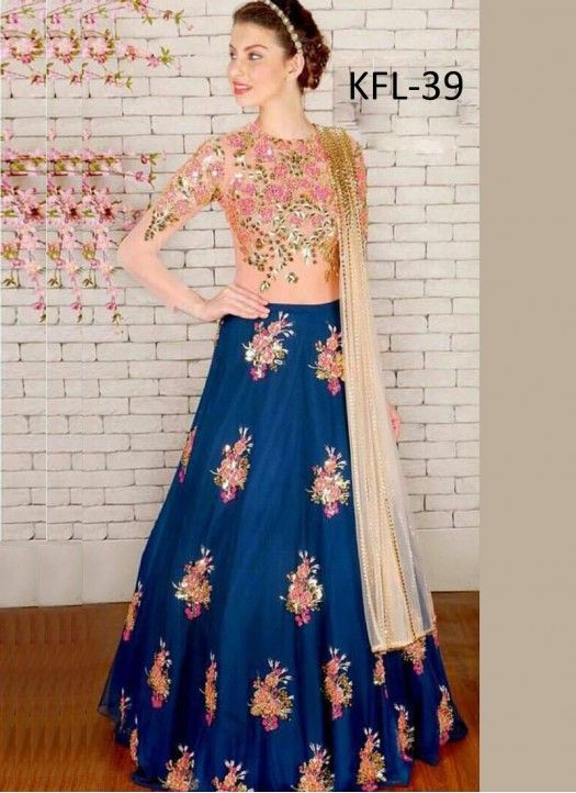 373b3e1fa Buy Taffeta Silk Navy Blue Designer Lehenga Choli | Bollywood ...