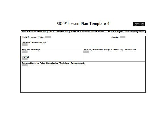 Siop Lesson Plan Template Free Word PDF Documents Download - Lesson plan free template
