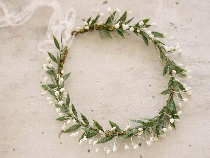 Kwiatowy Wianek Na Glowe Liscie Lolawhite Kwiaty Do Wlosow Floral Floral Wreath Wedding